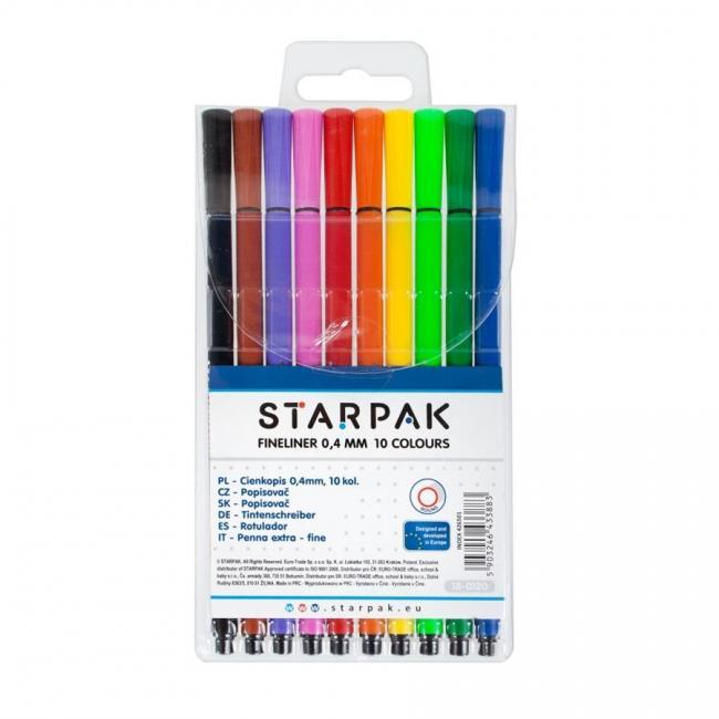 Cienkopisy 10 kolorów okrągłe 0,4 mm STARPAK 426501