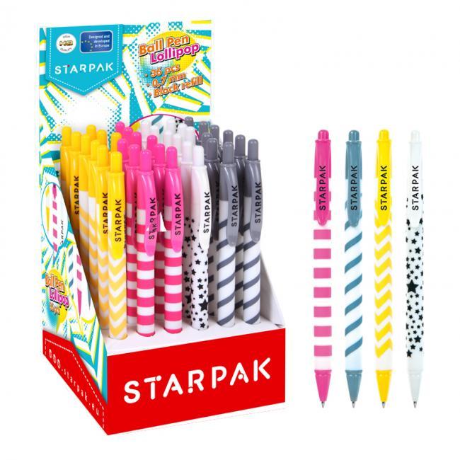 Długopis automatyczny 0,7 Lollipop czarny op.36 szt STARPAK 452805