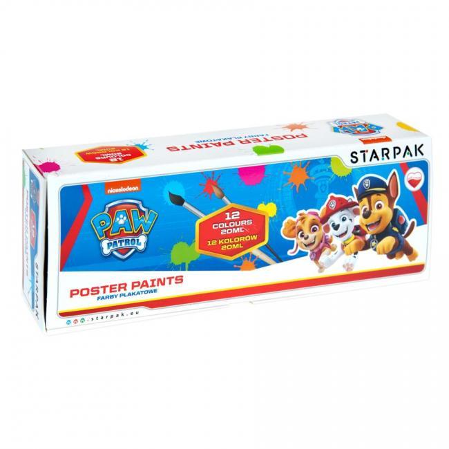 Farby plakatowe 12 kolorów 20ml Psi Patrol STARPAK 352979