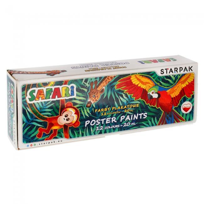 Farby plakatowe 12 kolorów 20ml Safari STARPAK 316876