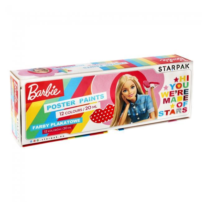 Farby plakatowe 12 kolorów 20ml. Barbie STARPAK 280996
