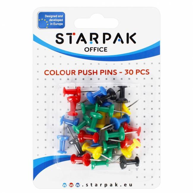 Kołki tablicowe kolorowe 30 sztuk STARPAK 149882