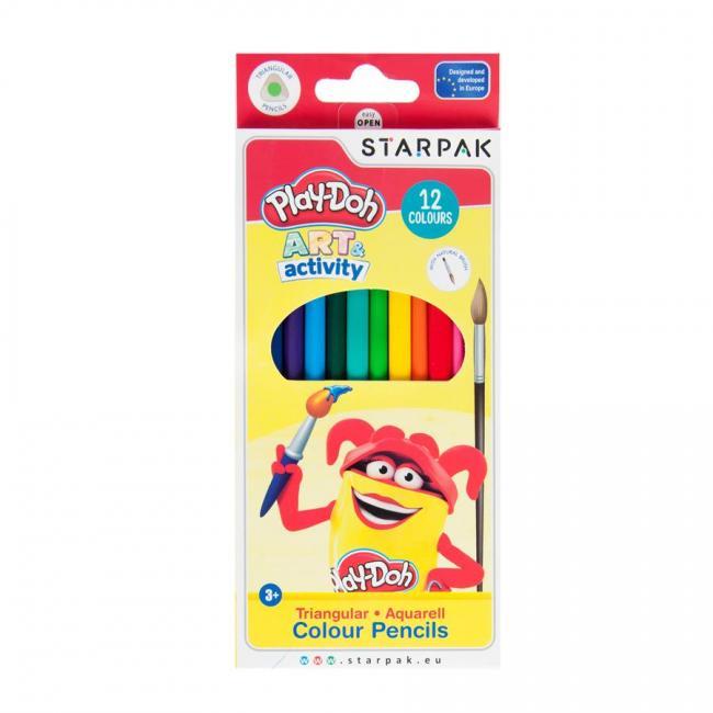 Kredki akwarelowe trójkątne 12 kolorów pędzelek Play-Doh STARPAK 453909