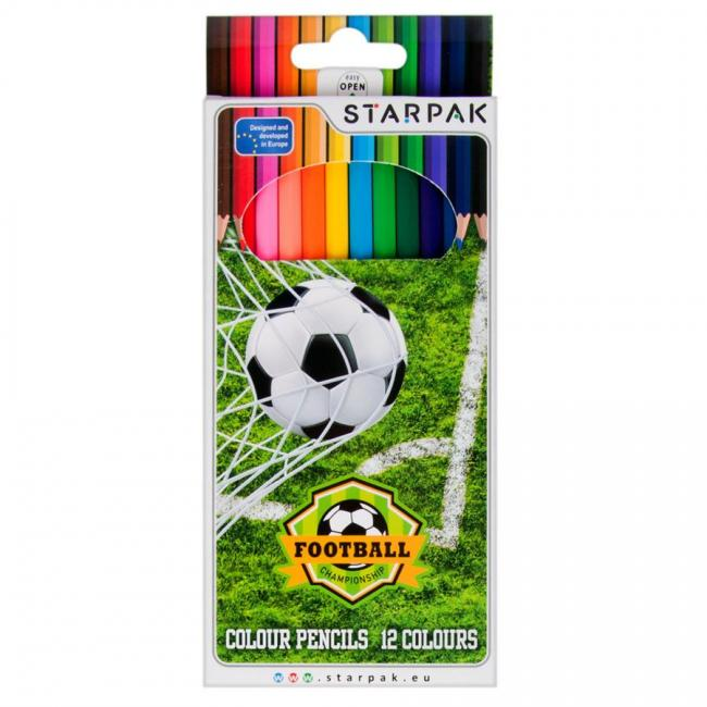 Kredki ołówkowe 12 kolorów Football STARPAK 276561