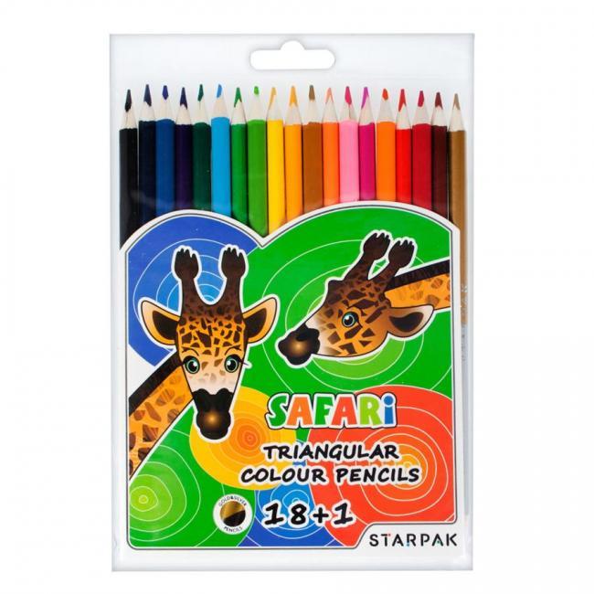 Kredki ołówkowe trójkatne 18 kol. STARPAK 352975