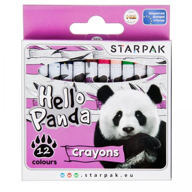 Kredki woskowe 12 kolorów Panda STARPAK 447731