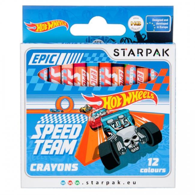 Kredki woskowe 12 kolorów Hot Wheels STARPAK 337290