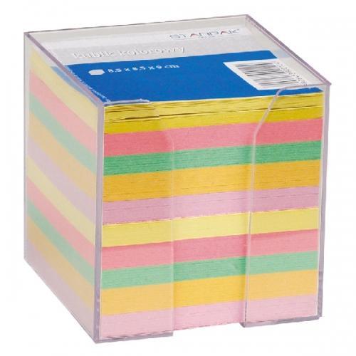 Kubik plastikowy z kolorowymi karteczkami 85x85 mm STARPAK 130534