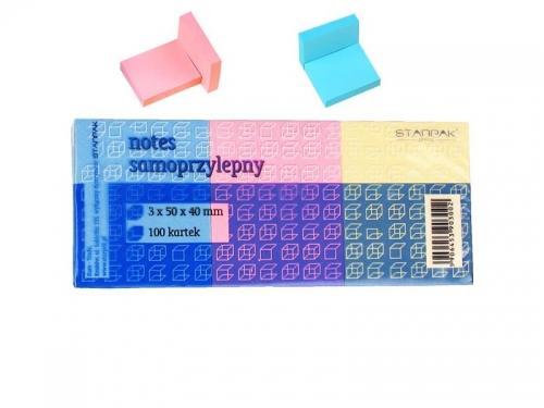 Notes samoprzylepny 3 sztuki kolorowe STARPAK 139073