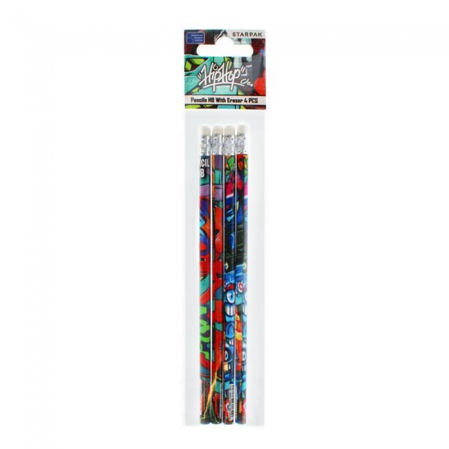 Ołówek z gumką graffiti PBH OP4SZT STARPAK 447735