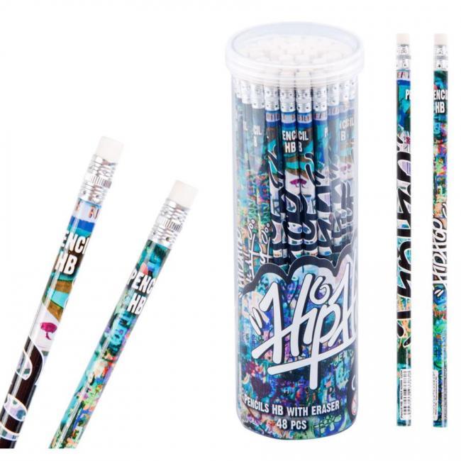 Ołówek z gumką Graffiti 48 sztuk w tubie STARPAK 397705
