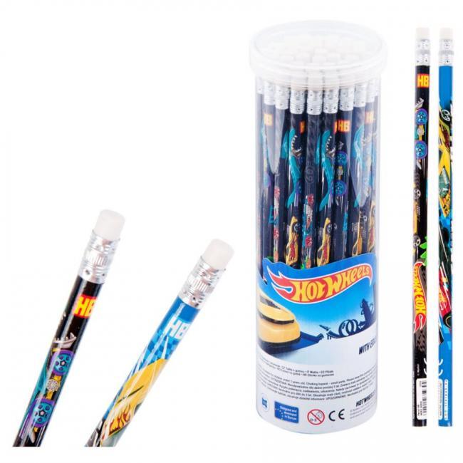 Ołówek z gumką Hot Wheels w tubie 48 szt. STARPAK 342830