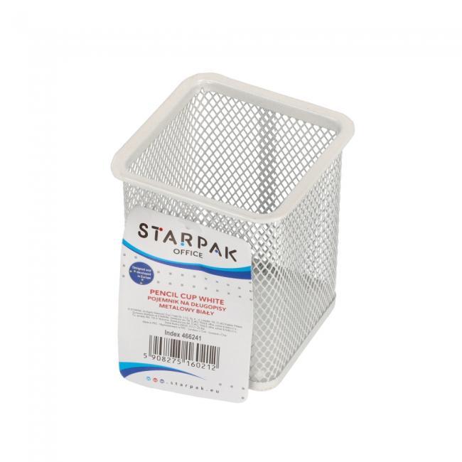 Pojemnik na długopisy metalowy kwadrat biały KD804S BIA 466241 STARPAK