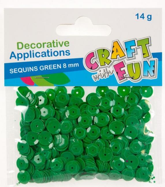 Cekiny pastelowe okrągłe 8 mm zielone CRAFT WITH FUN 290118