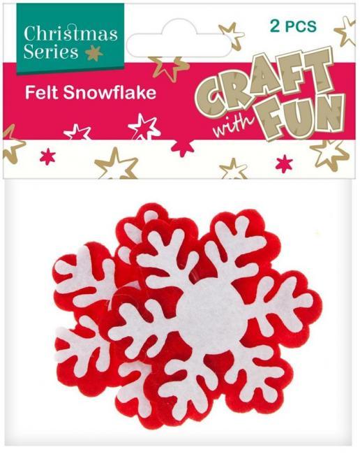 Ozdoba Boże Narodzenie filc Płatek Śniegu 2szt. CRAFT WITH FUN 383946