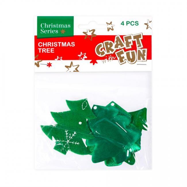 Ozdoba Boże Narodzenie materiał Choinka 4szt. CRAFT WITH FUN 383956