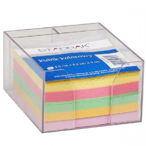 Kubik plastikowy z kolorowymi karteczkami 85x85 mm STARPAK 154144